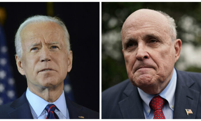 (L) Democratic presidential candidate and former Vice President Joe Biden makes remarks about the complaint filed by an anonymous person against President Donald Trump in Delaware on Sept. 24, 2019. (Ethan Miller/Getty Images) (R) Rudy Giuliani, former New York City mayor and current lawyer for President Donald Trump, speaks to members of the media in a file photograph. (Alex Wong/Getty Images)