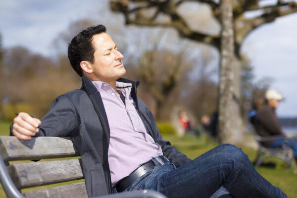 relaxing man in the sun