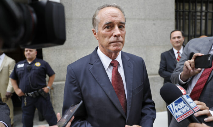 Rep. Chris Collins, R-N.Y., speaks to reporters as he leaves the courthouse after a pretrial hearing in his insider-trading case, in New York on Sept. 12, 2019. (Seth Wenig/AP Photo)