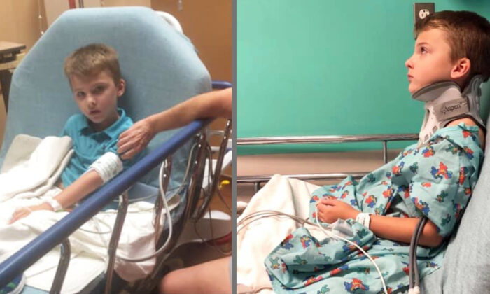 Lakewood Elementary Student Christian Boynton, 8, at Texas Children's Hospital in Houston, Texas, on Sept. 24, 2019. (Courtesy of Kailee Boynton/Facebook)