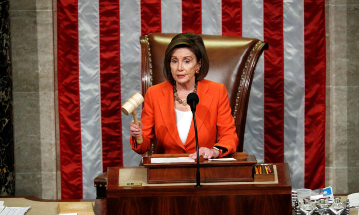 Speaker of the House Nancy Pelosi wields the gavel as she presides over the House of Representatives vote on a resolution that sets up the next steps in the impeachment inquiry of President Donald Trump on Capitol Hill in Washington on Oct. 31, 2019. (Tom Brenner/Reuters)