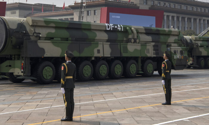 The Chinese military's new DF-41 intercontinental ballistic missiles, that can reportedly reach the United States, are seen at a parade to celebrate the 70th Anniversary of the Communist Party's takeover of China, at Tiananmen Square in Beijing on Oct. 1, 2019. (Kevin Frayer/Getty Images)