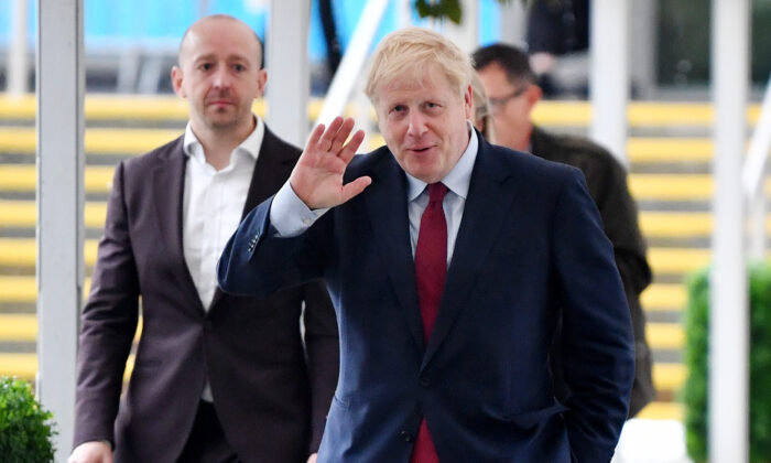 UK Prime Minister Boris Johnson walks to his hotel after attending an event on Oct. 1, 2019 in Manchester, England. (Jeff J Mitchell/Getty Images)