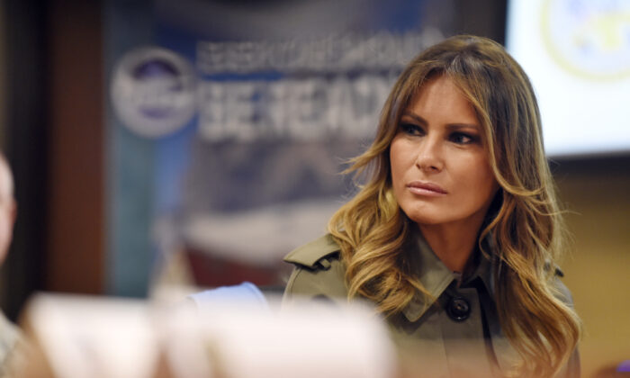 First lady Melania Trump listens during a briefing on disaster preparation and response on Oct. 30, 2019, at Joint Base Charleston, S.C. (Meg Kinnard/AP)