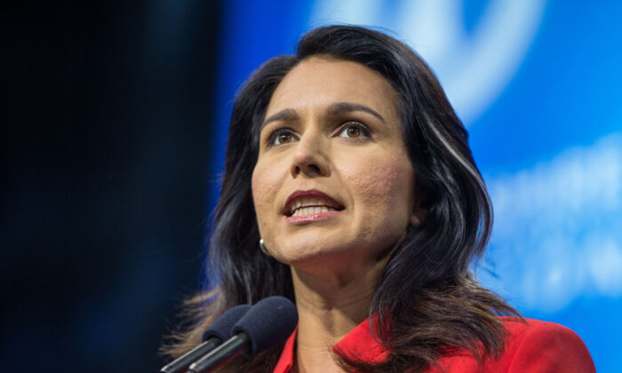 Rep. Tulsi Gabbard (D-Hawaii) speaks on the campaign trail in Manchester, New Hampshire on Sept. 7, 2019. (Scott Eisen/Getty Images)