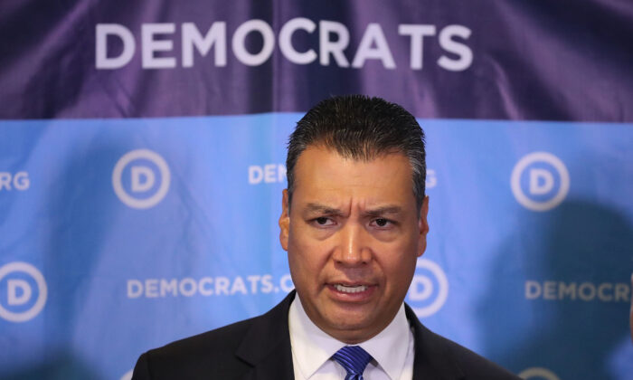 California Secretary of State Alex Padilla speaks during a press conference held at the Democratic National Headquarters in Washington on July 19, 2017. (Photo by Joe Raedle/Getty Images)