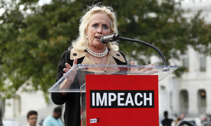 Rep. Debbie Dingell (D-Mich.) speaks at an Impeachment Now! rally in Washington on Sept. 26, 2019. (Paul Morigi/Getty Images for MoveOn Political Action)