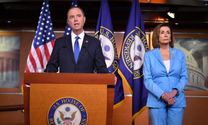 House Speaker Nancy Pelosi and House Intelligence Committee Chair Adam Schiff (D-Calif.) speak during a press conference in the House Studio of the US Capitol in Washington on Sept. 2, 2019. (Mandel Ngan/AFP via Getty Images)