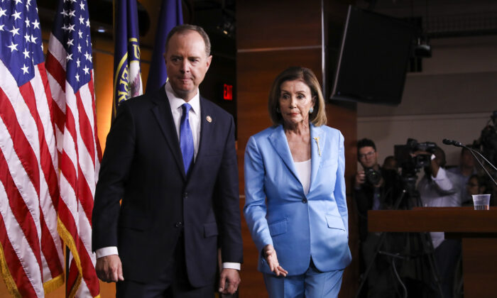 Speaker of the House Nancy Pelosi (D-Calif.) and Rep. Adam Schiff (D-Calif.), House intelligence chairman, hold a press conference on the impeachment inquiry of U.S. President Donald Trump at the Capitol in Washington on Oct. 2, 2019. (Charlotte Cuthbertson/The Epoch Times)