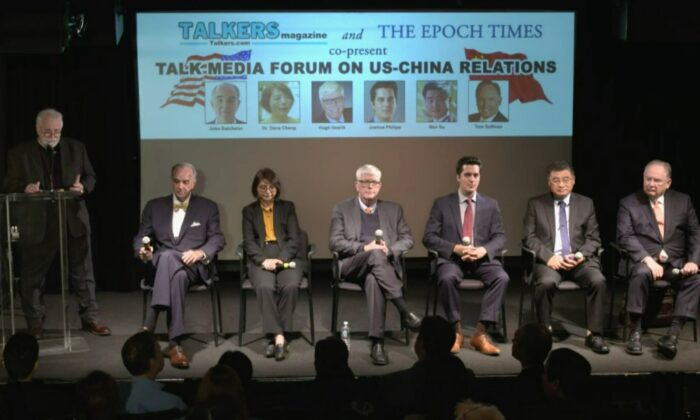 (L to R): John Batchelor (L), radio talk show host at WABC; Dana Cheng, The Epoch Times' senior editor of China news; Hugh Hewitt, a radio talk show host; Joshua Philipp, Epoch Times senior investigative reporter; Nathan Su, Epoch Times reporter; and Tom Sullivan of Talk Media Network