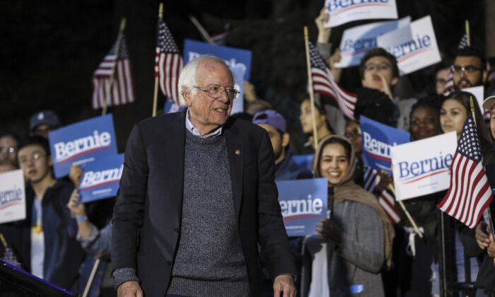 Democratic presidential candidate Sen. Bernie Sanders, I-Vt., pauses while speaking at a campaign event at Dartmouth College in Hanover, N.H. Sept. 29, 2019. ( Cheryl Senter/AP Photo)