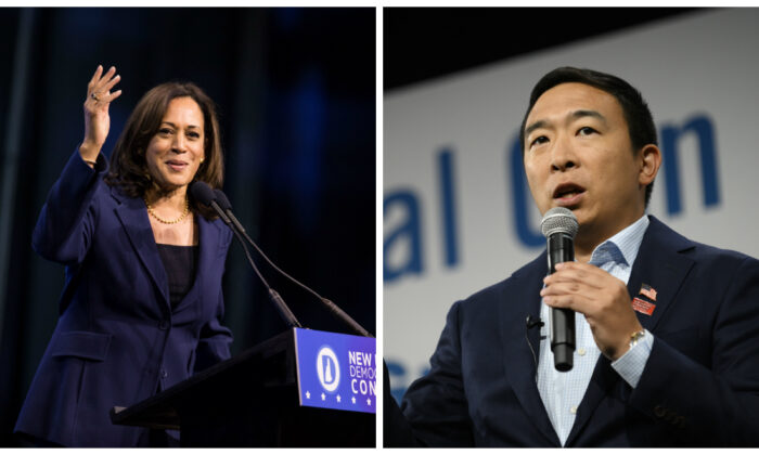 (L)-Democratic presidential candidate, Sen. Kamala Harris (D-Calif.) speaks during the New Hampshire Democratic Party Convention at the SNHU Arena on Sept. 7, 2019 in Manchester, New Hampshire. (Photo by Scott Eisen/Getty Images) (R)-Democratic presidential candidate Andrew Yang speaks during a forum on gun safety at the Iowa Events Center in Des Moines, Iowa on Aug. 10, 2019. (Photo by Stephen Maturen/Getty Images)