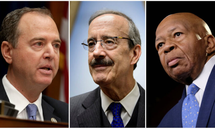 From left to right, House Intelligence Chairman Rep. Adam Schiff (D-Calif.) House Foreign Affairs Chairman Representative Eliot Engel (D-N.Y.), and House Oversight and Reform Chairman Elijah Cummings (D-Md.). (Alex Wong/Getty Images; Brendan Smialowski/AFP/Getty Images; Alex Wroblewski/Getty Images)