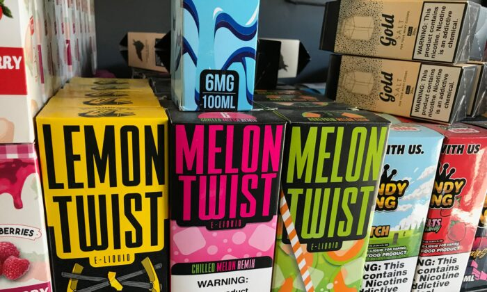 Flavored vaping products containing nicotine are seen in a store in Los Angeles, California, Sept. 17, 2019. (ROBYN BECK/AFP/Getty Images)