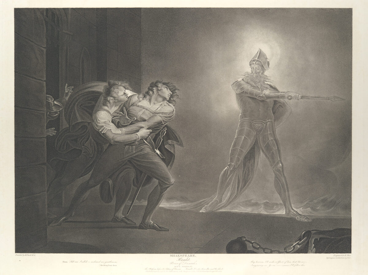 engraving of Hamlet and the ghost