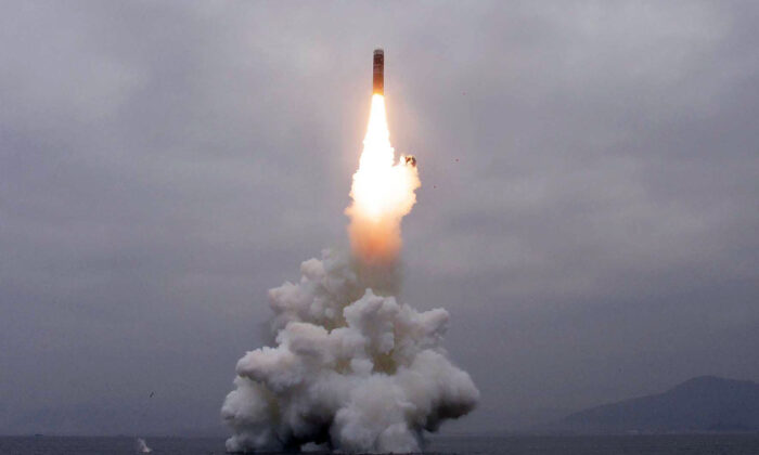 What appears to be a submarine-launched ballistic missile (SLBM) flies in an undisclosed location in this undated picture released by North Korea's Central News Agency (KCNA) on Oct. 2, 2019. (KCNA via Reuters)