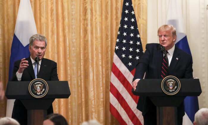 Finland President Sauli Niinistö and President Donald Trump at a joint press conference in the East Room of the White House in Washington on Oct. 2, 2019. (Charlotte Cuthbertson/The Epoch Times)
