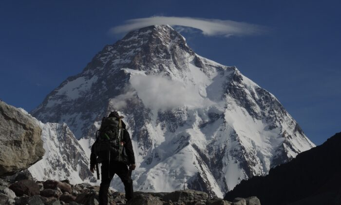 Adrian Hayes gazes at the world's second highest peak, K2. (Courtesy of Adrian Hayes)