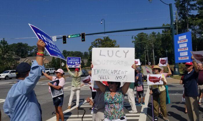 Members of the Atlanta Tea Party protest near the office of Rep. Lucy McBath in Atlanta, Ga. on Oct. 2, 2019. (Courtesy Atlanta Tea Party).