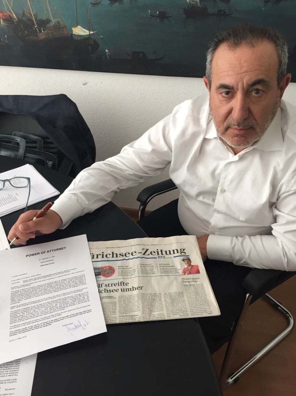 Joseph Mifsud in Zurich, Switzerland. The photo shows a signed power of attorney document
