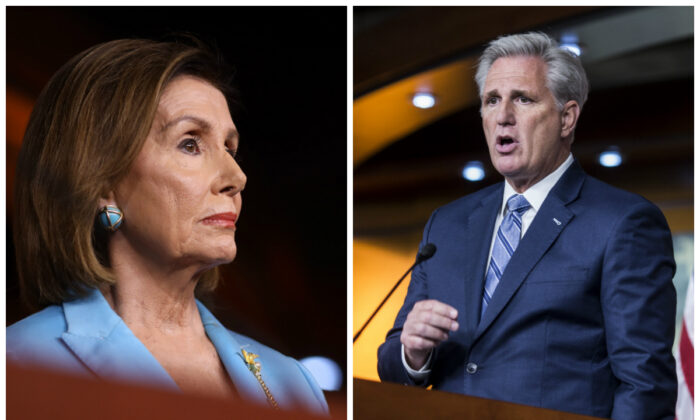 (L)-Speaker of the House Nancy Pelosi (D-Calif.) at a press conference in Washington on Oct. 2, 2019. (Win McNamee/Getty Images) (R)-House Minority Leader Kevin McCarthy (R-Calif.) speaks during a weekly news conference in Washington on Sept. 26, 2019. (Photo by Zach Gibson/Getty Images)