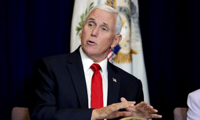Vice President Mike Pence speaks during a Southwest Hispanic Leaders roundtable in honor of Hispanic Heritage Month in Scottsdale, Ariz. on Oct. 3, 2019. (AP Photo/Matt York)