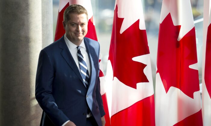 Conservative leader Andrew Scheer arrives for a morning announcement in Toronto on Oct. 1, 2019. (THE CANADIAN PRESS/Jonathan Hayward)
