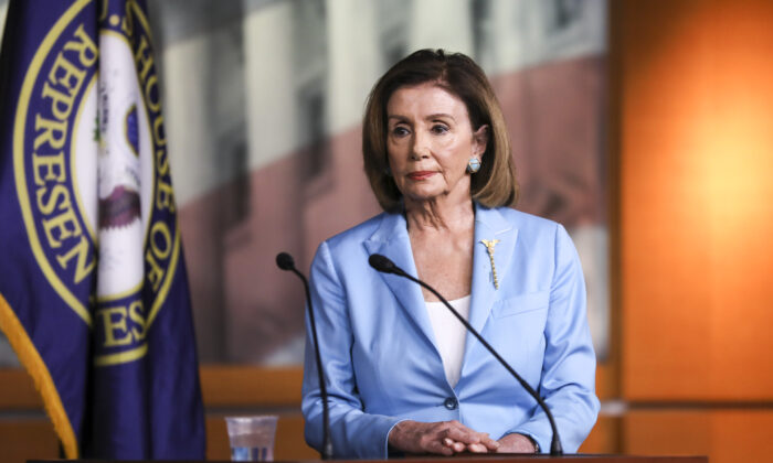 peaker of the House Nancy Pelosi (D-Calif.) at a press conference about the impeachment inquiry of President Trump, at the Capitol in Washington on Oct. 2, 2019. (Charlotte Cuthbertson/The Epoch Times)