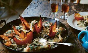 Chicken With Wild Mushrooms, Pumpkin, Rice, and Sage Butter