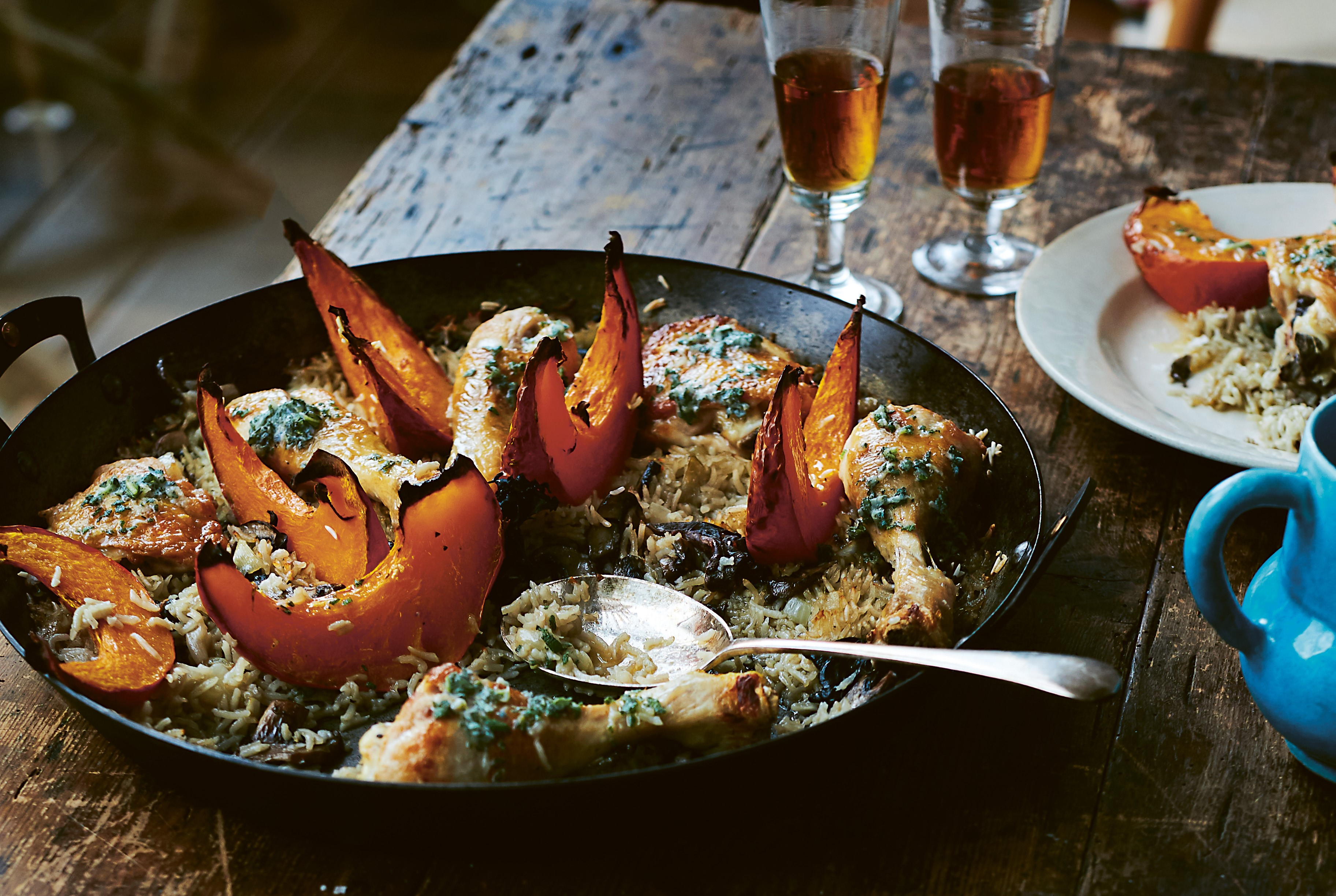Chicken With Wild Mushrooms, Pumpkin, Rice, and Sage Butter