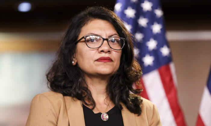 Rep. Rashida Tlaib (D-Mich.) at a press conference in Washington on July 15, 2019. (Holly Kellum/NTD)