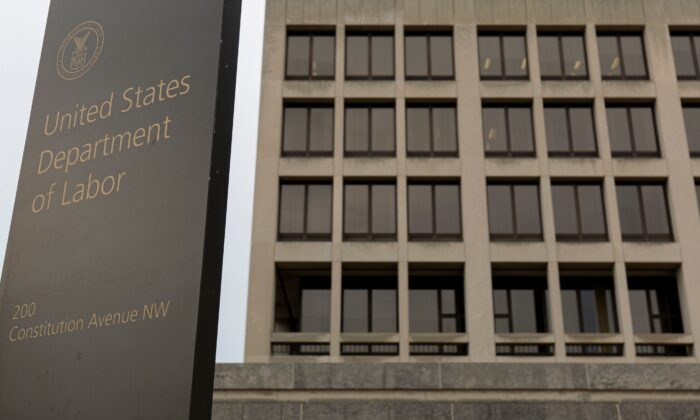The Department of Labor building is seen in Washington in a file photograph. (Alastair Pike/AFP/Getty Images)