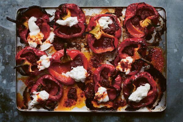 Roast Peppers With Burrata & 'Nduja