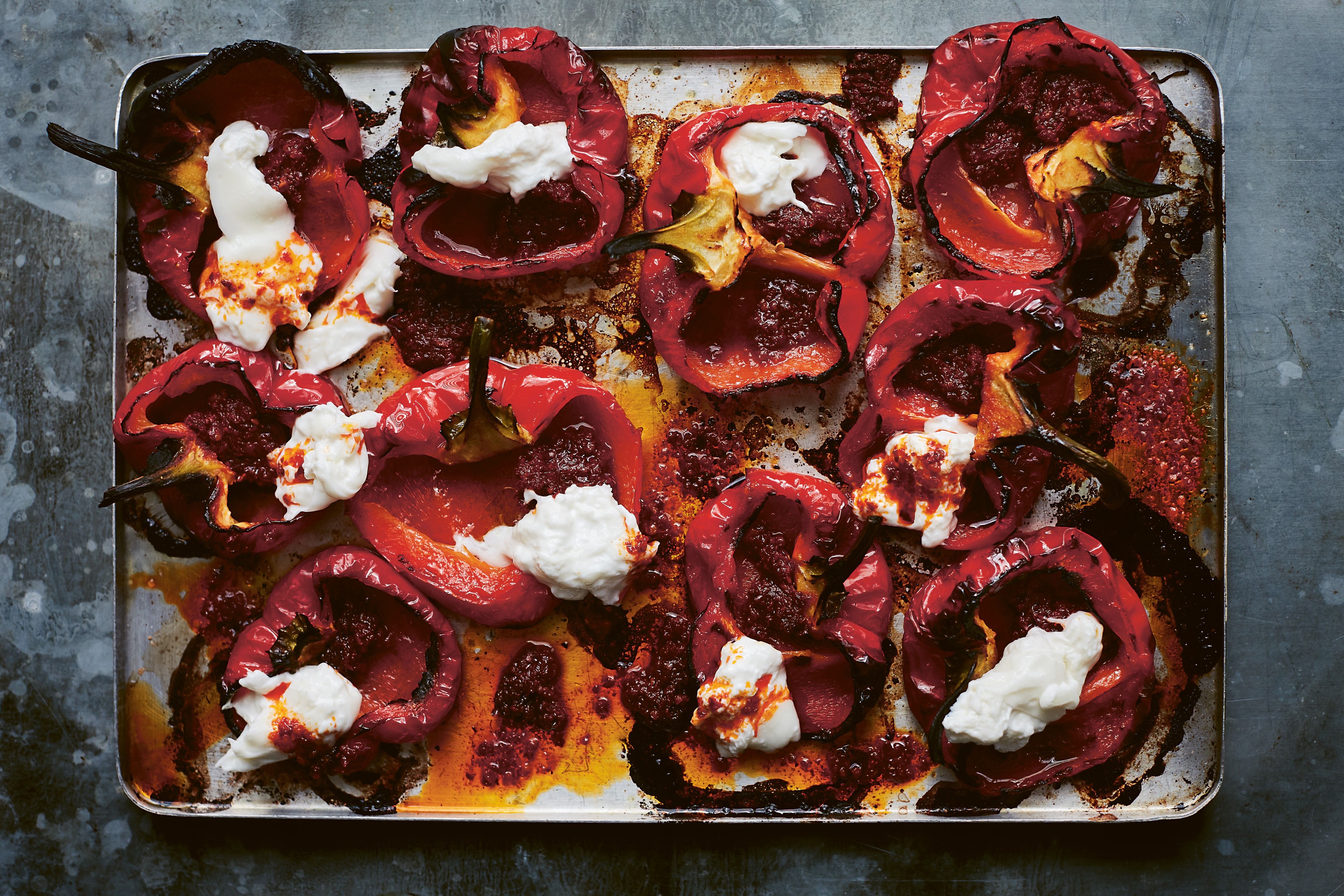 Roast Peppers With Burrata and 'Nduja