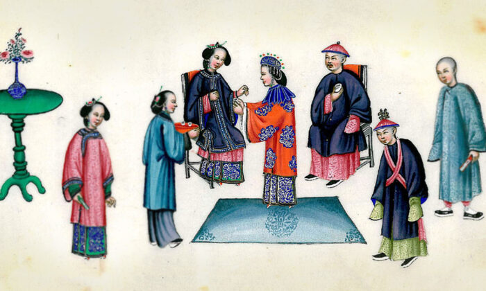 A Qing Dynasty wedding that depicts the bride presenting tea to her mother in law. (Wikimedia Commons)