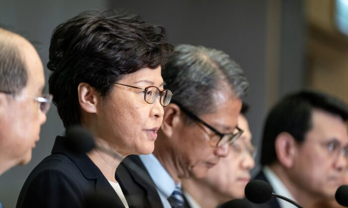 Hong Kong Chief Executive Carrie Lam speaks during a press conference at the Central Government Complex in Hong Kong  on Oct. 4, 2019. (Anthony Kwan/Getty Images)