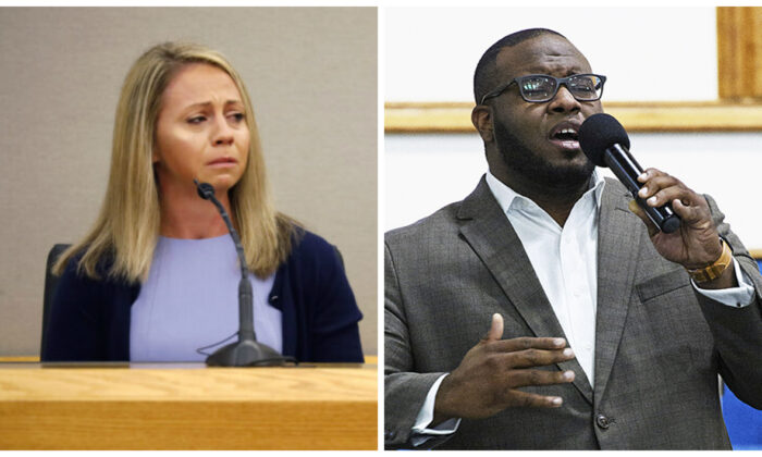 (L)-Former Dallas police officer Amber Guyger becomes emotional as she testifies in her murder trial, in Dallas on Sept. 27, 2019. (Tom Fox/The Dallas Morning News via AP, Pool) (R)-Botham Jean leading worship at a Harding University presidential reception in Dallas on Sept. 21, 2017. (Jeff Montgomery/Harding University via AP)