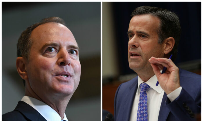 (L)-House Intelligence Chair Adam Schiff (D-Calif.) speaks to reporters after stepping out of a meeting with former special representative to Ukraine Kurt Volker at the US Capitol in Washington on Oct. 3, 2019. (Photo by Saul LOEB / AFP)(R)-Rep. John Ratcliffe (R-Texas) speaks during testimony by Acting Director of National Intelligence Joseph Maguire before the House Select Committee on Intelligence in the Rayburn House Office Building on Capitol Hill in Washington in a Sept. 2019 file photograph. (Alex Wong/Getty Images)