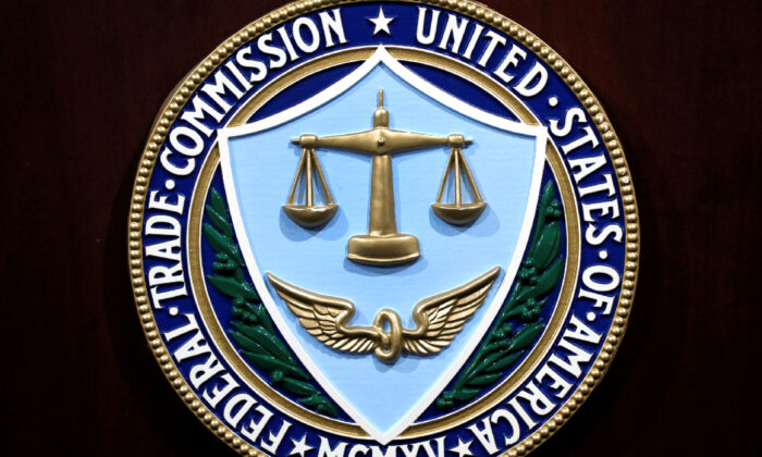 Federal Trade Commission seal is seen at a news conference at FTC headquarters in Washington on July 24, 2019. (Yuri Gripas/Reuters)
