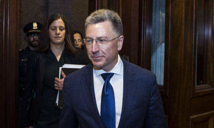 Former Special Envoy to Ukraine Kurt Volker departs following a closed-door deposition led by the House Intelligence Committee on Capitol Hill in Washington on Oct. 3, 2019. (Zach Gibson/Getty Images)
