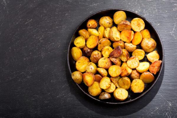 pan of roasted potatoes