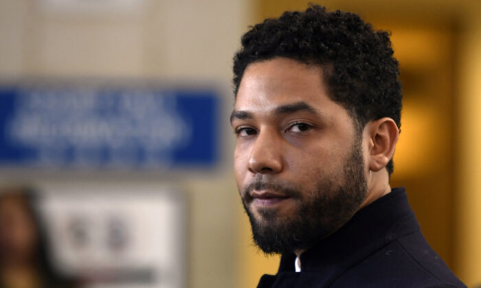 Actor Jussie Smollett talks to the media before leaving Cook County Court after his charges were dropped, in Chicago on March 26, 2019. (Paul Beaty/AP/File)