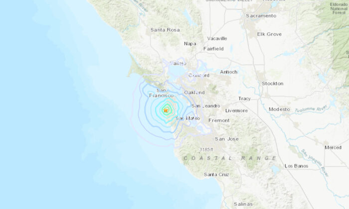 A quake with a preliminary magnitude of 3.5 struck just south of San Francisco on Saturday, Oct. 5 morning. (United States Geological Survey)