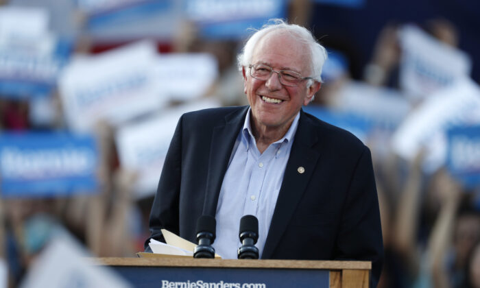 Democratic presidential candidate Sen. Bernie Sanders (I-Vt.) speaks during a rally at a campaign stop, in Denver, on Sept. 9, 2019. (AP Photo/David Zalubowski, File)