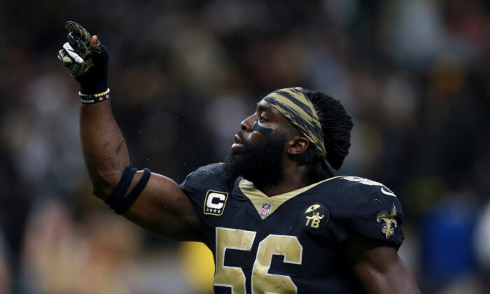 Demario Davis of the New Orleans Saints reacts after recovering a fumble during a game against the Pittsburgh Steelers in New Orleans, Louisiana, on Dec. 23, 2018. (Sean Gardner/Getty Images)