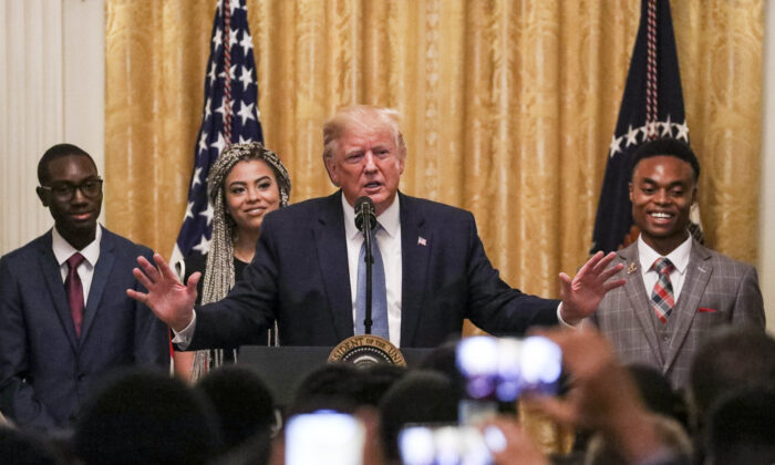 President Donald Trump at the Black Leadership Summit at the White House in Washington, on Oct. 4, 2019. (Charlotte Cuthbertson/The Epoch Times)