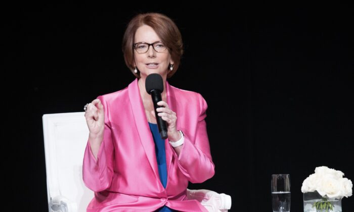"Former Australian Prime Minister Julia Gillard joins the ""Let Girls Learn"" Global Conversation at The Apollo Theater in New York City on Sept. 29, 2015. (Dave Kotinsky/Getty Images for Global Goals)"