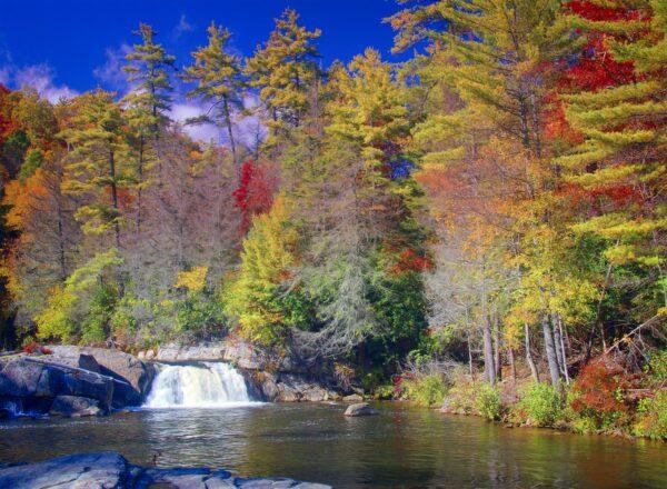 NORTH CAROLINA--d-34833-Small falls on Linville River
