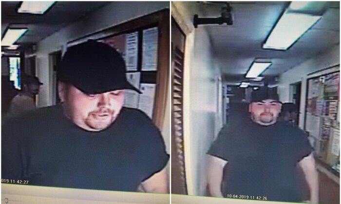 An image of the robbery suspect on Oct. 4, 2019, later identified as Heath Bumpous by deputies. (Trinity County Sheriff's Office)
