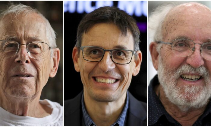 (L-R) Nobel Prize winners in Physics James Peebles in Princeton, N.J., Didier Queloz in London, England, and Michel Mayor in Madrid, Spain, in a combination photo of Oct. 8, 2019. Peebles, an emeritus professor at Princeton University, won for his theoretical discoveries in cosmology. Swiss star-gazers Mayor and Queloz, both of the University of Geneva, were honoured for finding an exoplanet—a planet outside our solar system—that orbits a sun-like star, the Nobel committee said. (AP Photo)